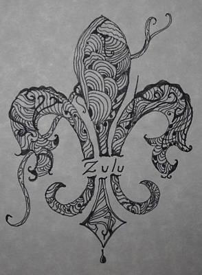 Mardi Drawing - Zulu Fleur De Leis by Marian Hebert