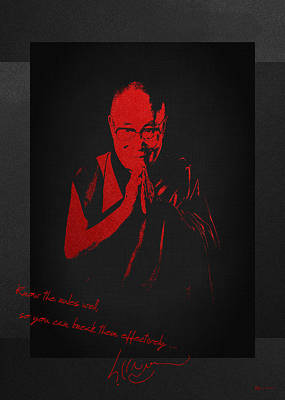 14th Dalai Lama Tenzin Gyatso - Know The Rules Well So You Can Break Them Effectively Print by Serge Averbukh