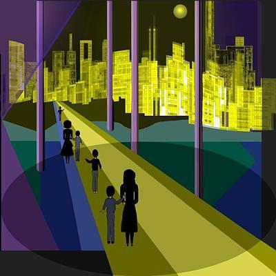 Luminescent Digital Art -  286 - Nightwalking To The Golden City 2 by Irmgard Schoendorf Welch