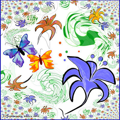 556 - Flowers And Butterflies Print by Irmgard Schoendorf Welch