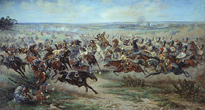 A Charge Of The Russian Leib Guard  Print by Viktor Mazurovsky