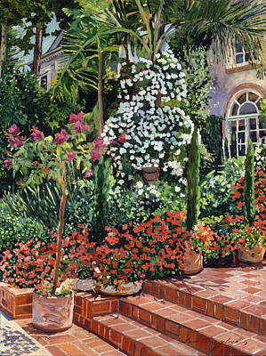 Beverly Hills Painting -  A Garden Approach by David Lloyd Glover