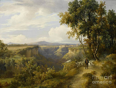 Raymond Painting -  A Goatherder And His Flock  by Jacques Raymond