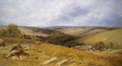 A Hot Day In The Harvest Field Print by William Gosling