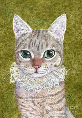 Cat Painting -  A Noble Cat Wearing A Ruffled Collar by Jingfen Hwu