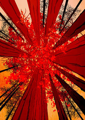 Abstract Landscape Art Sequoia Trees 3 Print by Diana Van