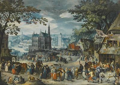 Mechelen Painting -  Amsterdam The Kermesse Of The Feast by David Vinckboons