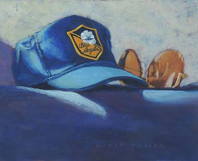 Baseball Cap Painting -  Angels Hat And Sunglasses by Bill Tomsa