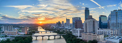 Sunsets Photograph -  Austin Skyline From Above by Tod and Cynthia Grubbs