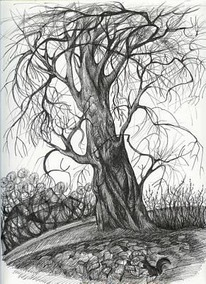 Autumn Dancing Tree Print by Anna  Duyunova