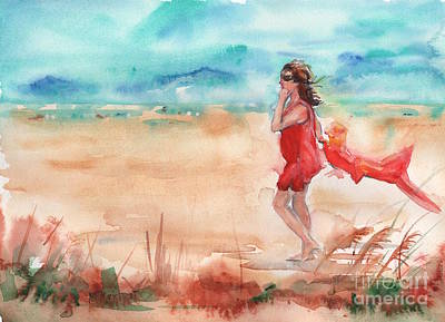 Oceanscape Painting -  Beach Painting In Watercolor by Maria's Watercolor