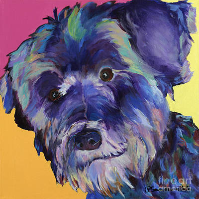 Dog Portrait Painting -  Beau by Pat Saunders-White