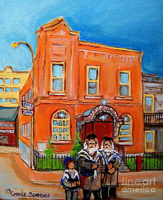 Montreal Painting -  Beautiful Synagogue On Bagg Street by Carole Spandau