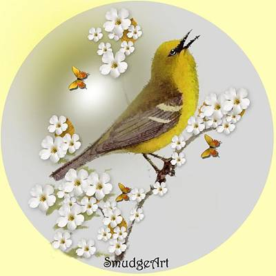 Warbler Digital Art -  Blue Winged Warbler by Madeline  Allen - SmudgeArt