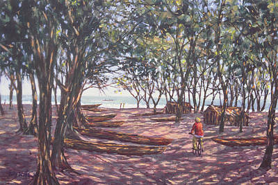 Cyclist Painting -  Boat Yard  Kafountine by Tilly Willis