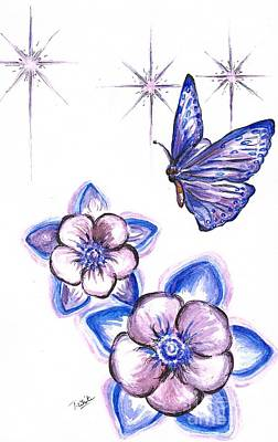Lilac Drawing -  Butterfly Amongst The Flowers by Teresa White