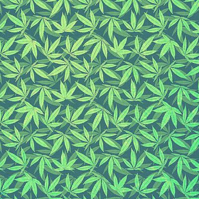 Cannabis   Hemp  420   Marijuana  Pattern Print by Philipp Rietz