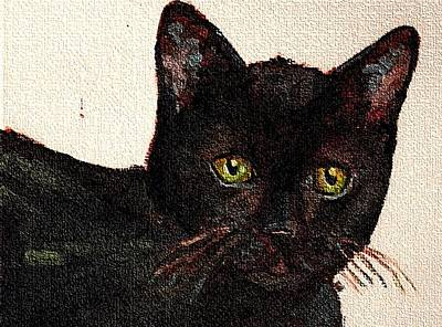 Oil Painting -  Chat Noir Portrait Black Bombay Cat  No. 2 by Cecely Bloom