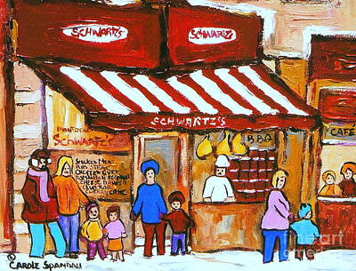 Montreal Memories Painting -  Chez Schwartz Deli Charcuterie  Vintage Montreal Winter Street Scene by Carole Spandau