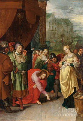 Christ And The Woman Taken In Adultery Print by Celestial Images