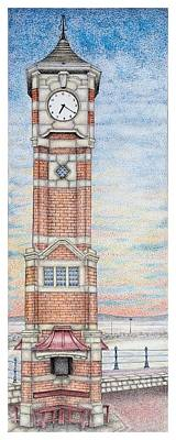 Face Drawing -  Clock Tower  Morecambe  Lancashire by Sandra Moore