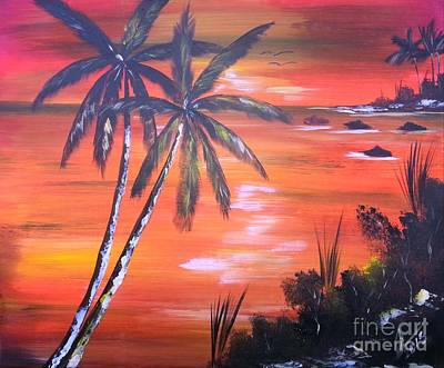 Jamaican Art Painting -  Coconut Palms  Sunset by Collin A Clarke