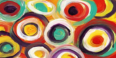 Pattern Painting -  Colorful Bold Circles Panoramic 2 by Amy Vangsgard