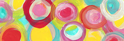 Landscape Painting -  Colorful Sun Circles Panoramic Horizontal by Amy Vangsgard