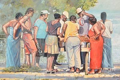 Jamaican Art Painting -  Days Catch by Jeffrey Samuels