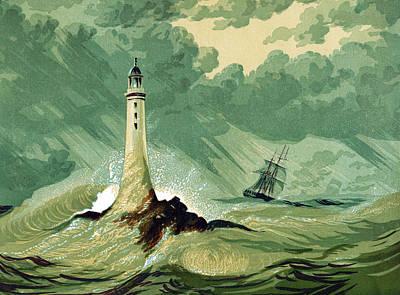 Eddystone Lighthous Print by English School