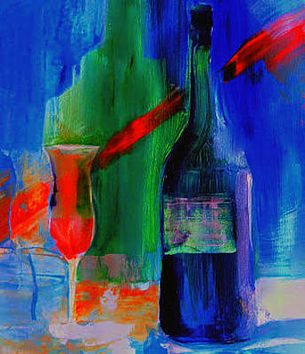 Wine Painting -  Electric Terra Cotta Blues by Lisa Kaiser