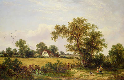 Farmhouse Painting -  Essex Landscape  by James Edwin Meadows