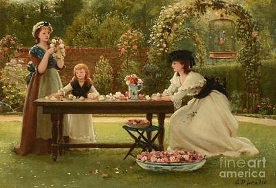 Girl Painting -  Feast Of Roses by George Dunlop