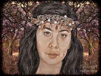 Beauty Mark Drawing -  Filipina Model Kaye Anne Toribio In A Mystical Forest. by Jim Fitzpatrick