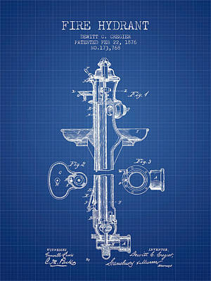 Fire Hydrant Patent From 1876 - Blueprint Print by Aged Pixel