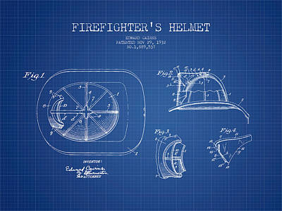 Firefighter Helmet Patent Drawing From 1932 - Blueprint Print by Aged Pixel