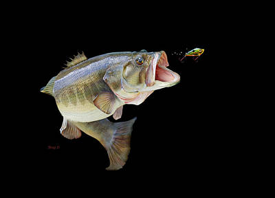 Largemouth Mixed Media -  Fishing In A Tournament by Gregory Doroshenko