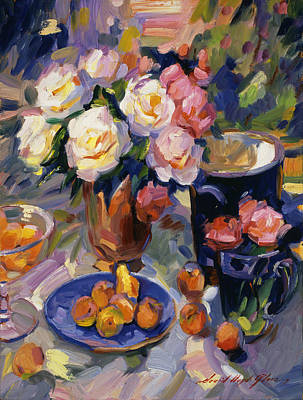 Apricot Painting -  Flowers And Fruit by David Lloyd Glover