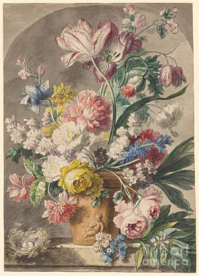 Flowers In An Urn And A Bird's Nest  Print by Jan van Huysum