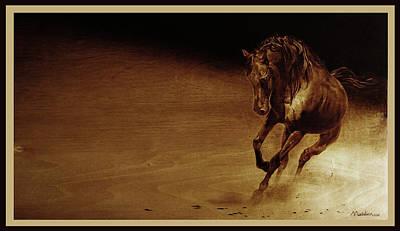 Pirogravura Pyrography -  Free Running by Dino Muradian