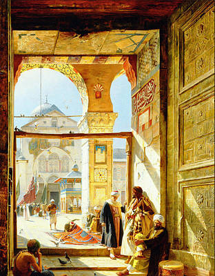 Gustav Bauernfeind Painting - Gate Of The Great Mosque. Damascus by Gustav Bauernfeind