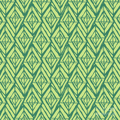 Damask Drawing -  Geometric Diamond Pattern In Green by Stephanie Troutner