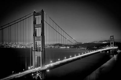 Golden Gate Bridge At Night Monochrome Print by Melanie Viola