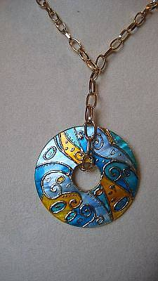 Hand Painted Pendant Jewelry -  Hand Made And Hand Painted Pendant Klimt Mother Of Pearl by Evelina Pastilati