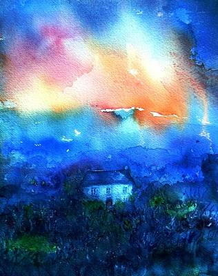 Haunted House Painting -  Haunted Dawn by Trudi Doyle