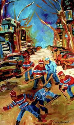 Hockey Paintings Of Montreal St Urbain Street Winterscene Print by Carole Spandau