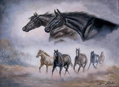 Horse Painting Distant Thunder Print by Regina Femrite