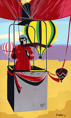 Hot Air Ballooning - Abstract - Pop Art Nouveau Retro Landscape Original by Walt Curlee
