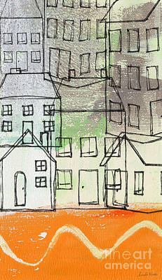 Door Mixed Media -  Houses By The River by Linda Woods