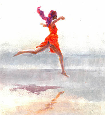 Mauve Painting -  Juno On The Beach by Lincoln Seligman